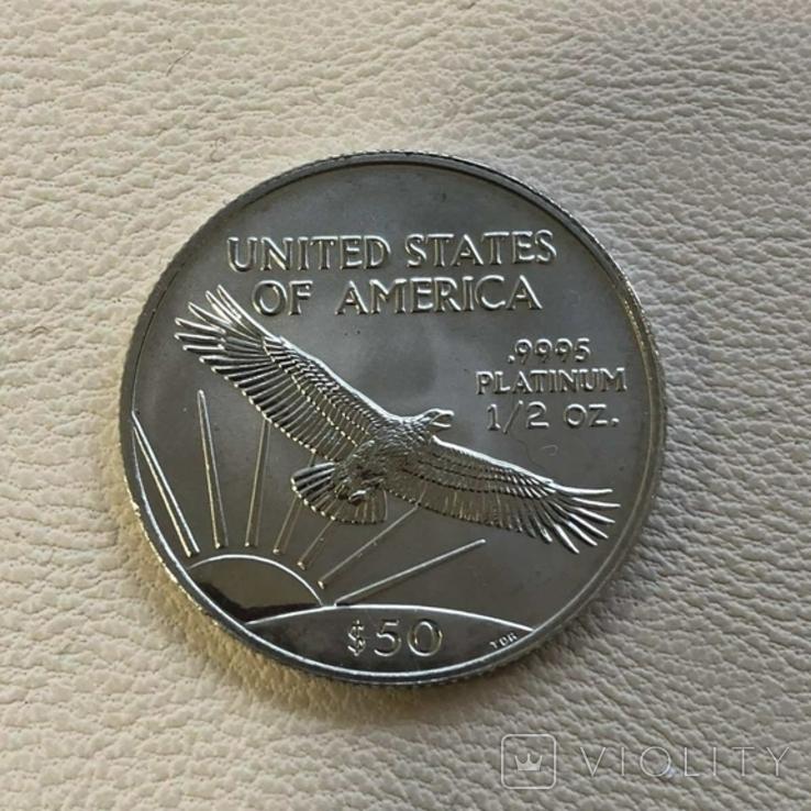 50$ США 1999 год  платина 15,5 грамм 999,5`, фото №3