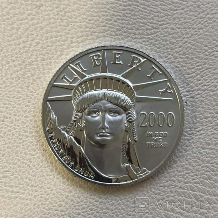 50$ США 2000 год  платина 15,5 грамм 999,5`, фото №2