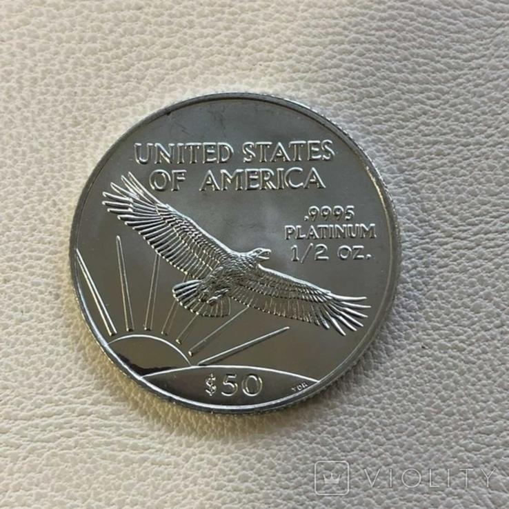 50$ США 2002 год  платина 15,5 грамм 999,5`, фото №3