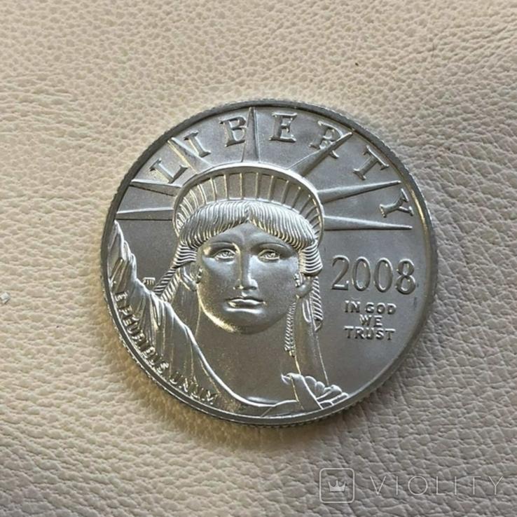 50$ США 2008 год  платина 15,5 грамм 999,5`, фото №2