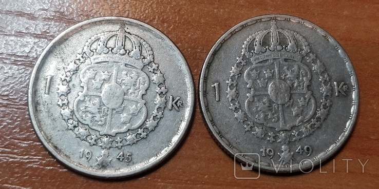 Швеция,1 крона,две монеты 1945 и 1949 г., фото №4