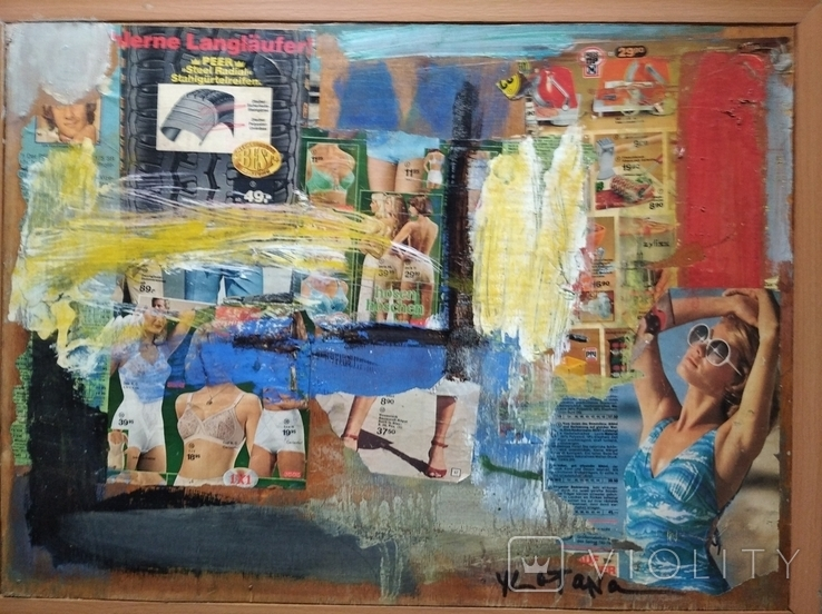 """Дамы""апплик. 41х56 см.Анатолий Шевчук(1951-2008), фото №3"