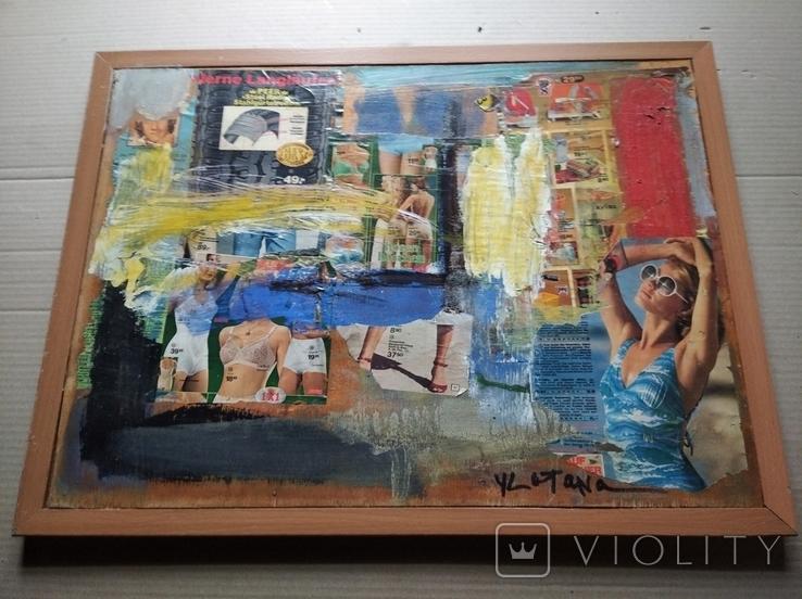 """Дамы""апплик. 41х56 см.Анатолий Шевчук(1951-2008), фото №9"