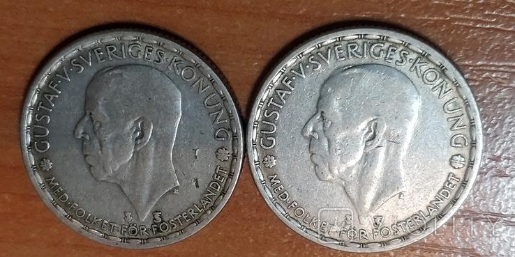 Швеция,1 крона, 1947 г.  и 1949 г., фото №2