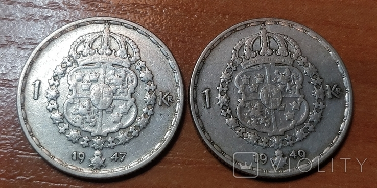 Швеция,1 крона, 1947 г.  и 1949 г., фото №3