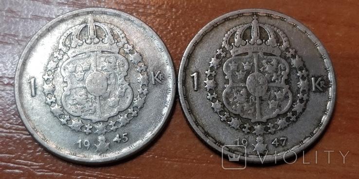 Швеция,1 крона, 1947 г.  и 1945 г., фото №2