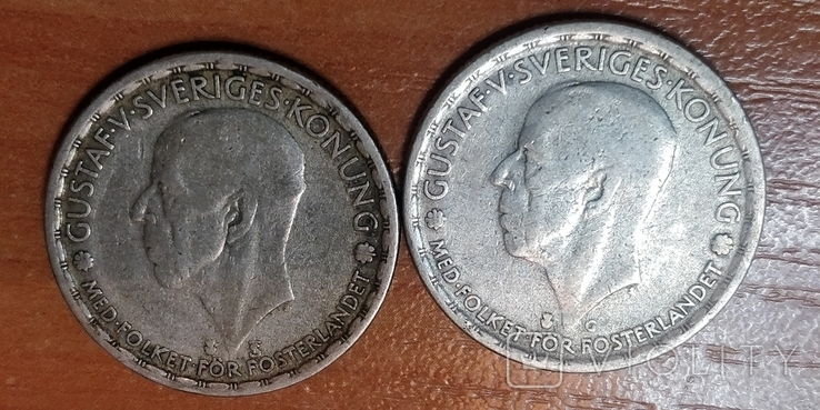Швеция,1 крона, 1947 г.  и 1945 г., фото №3