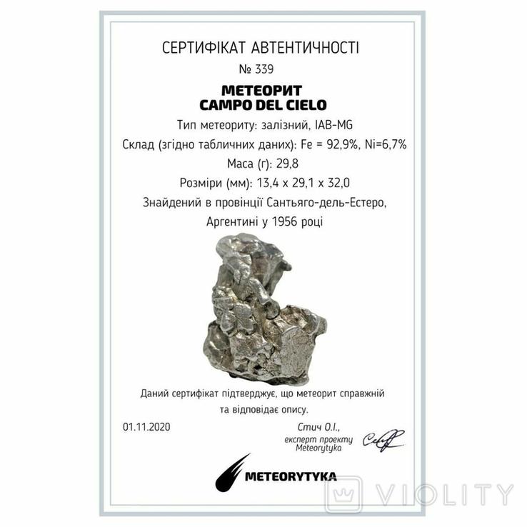 Залізний метеорит Campo del Cielo, 29,8 грам, із сертифікатом автентичності, фото №3