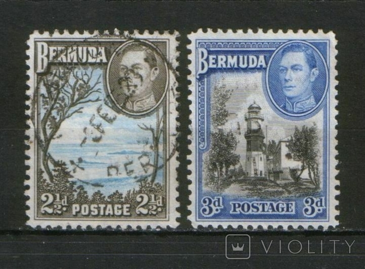 Брит. колонии. Бермудские о-ва 1938 Маяк, виды; лот 2 шт.