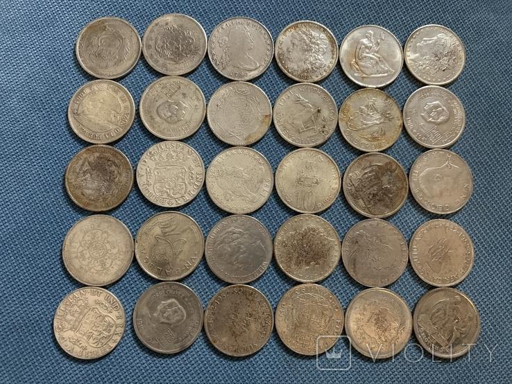 Копии серебрянных монет мира 30 шт одним лотом, фото №2