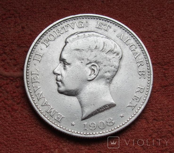 500 рейс 1908 г. Португалия, серебро, фото №2