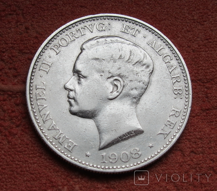 500 рейс 1908 г. Португалия, серебро, фото №3