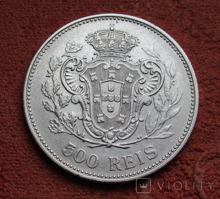 500 рейс 1908 г. Португалия, серебро, фото №6