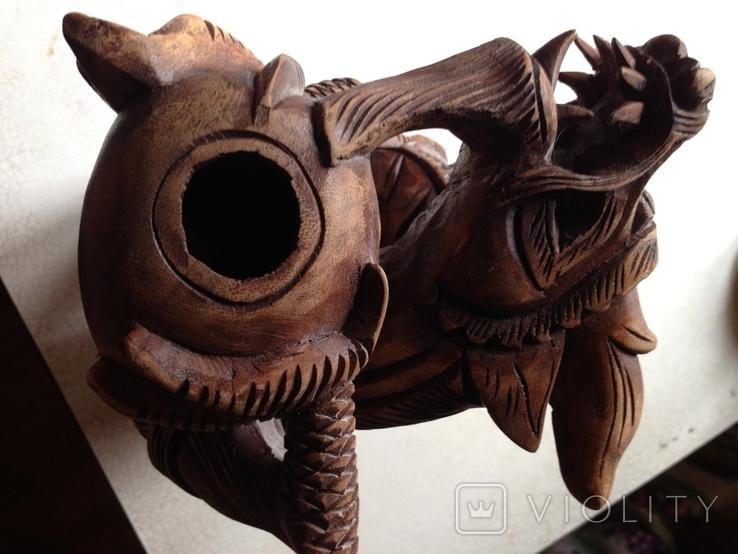 «Дракон- покровитель мира»  Резьба по дереву. Восток., фото №3