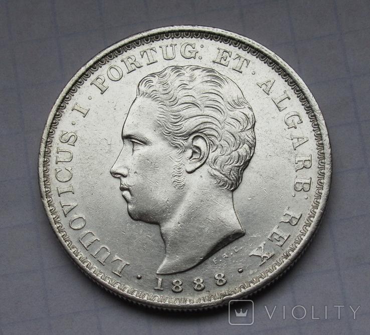 500 рейс 1888 г. Португалия, серебро, фото №2