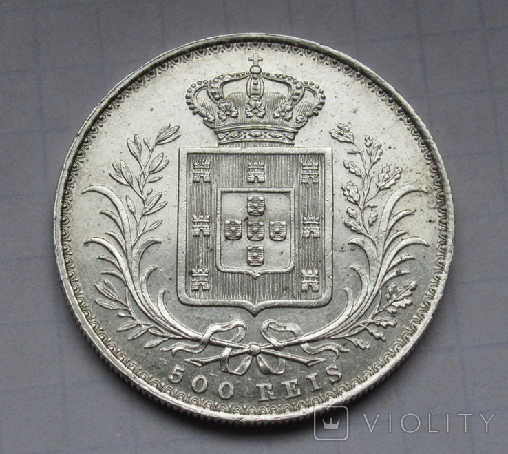500 рейс 1888 г. Португалия, серебро, фото №4