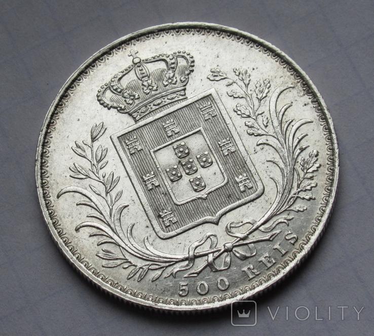 500 рейс 1888 г. Португалия, серебро, фото №5