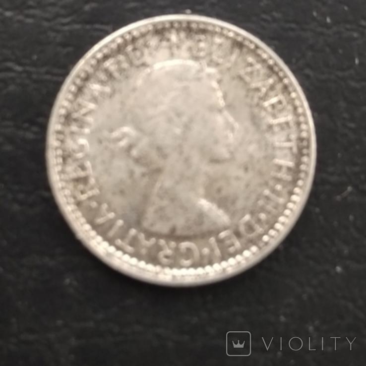 6 пенс серебро 1959, фото №2