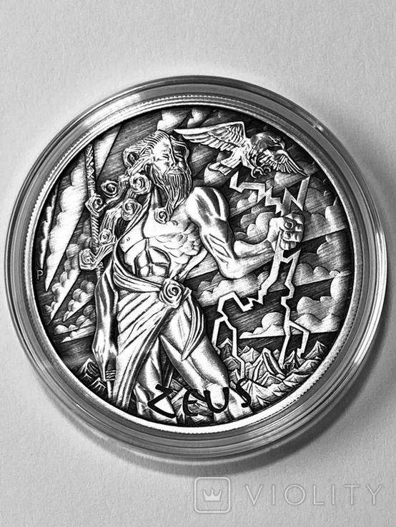 "1 доллар. 2020. ""Зевс. Боги Олимпа"" Antique (серебро 999, 1 унция), фото №2"