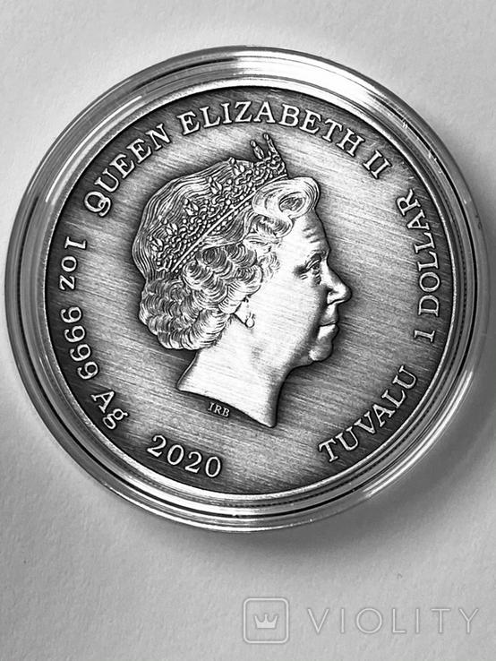 "1 доллар. 2020. ""Зевс. Боги Олимпа"" Antique (серебро 999, 1 унция), фото №3"