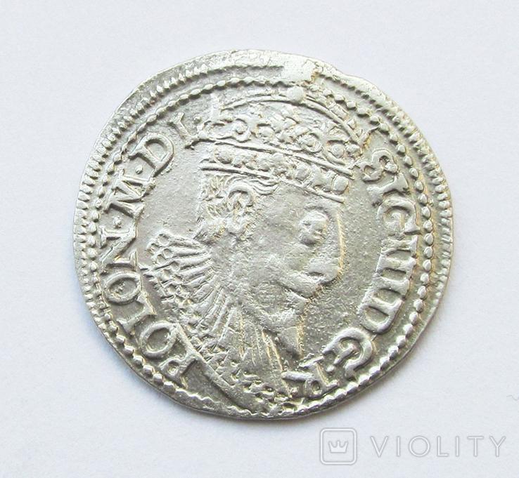 3 гроша 1596г Сигизмунд III,г. Олькуш, фото №2