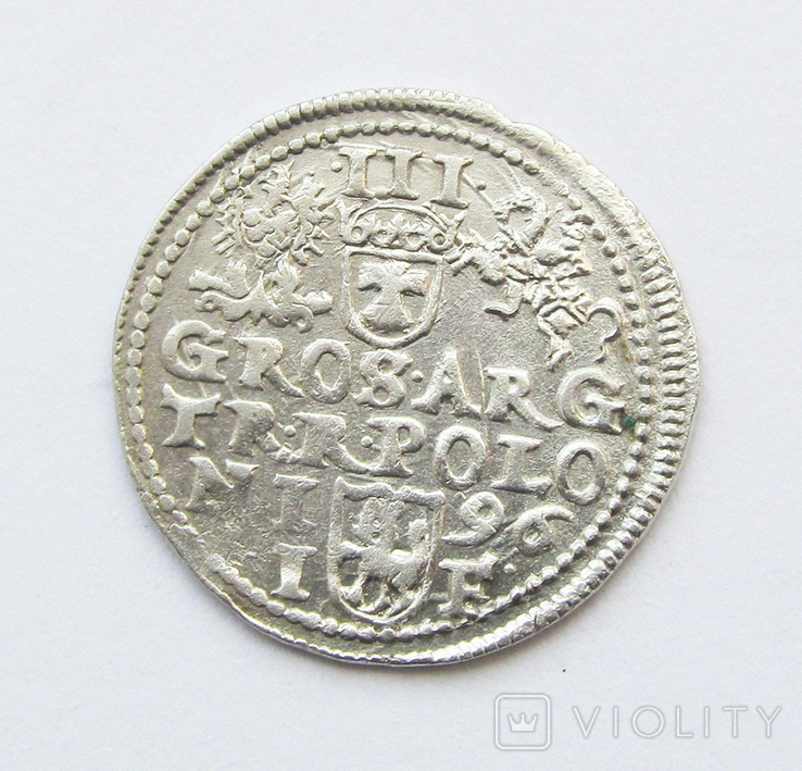 3 гроша 1596г Сигизмунд III,г. Олькуш, фото №3