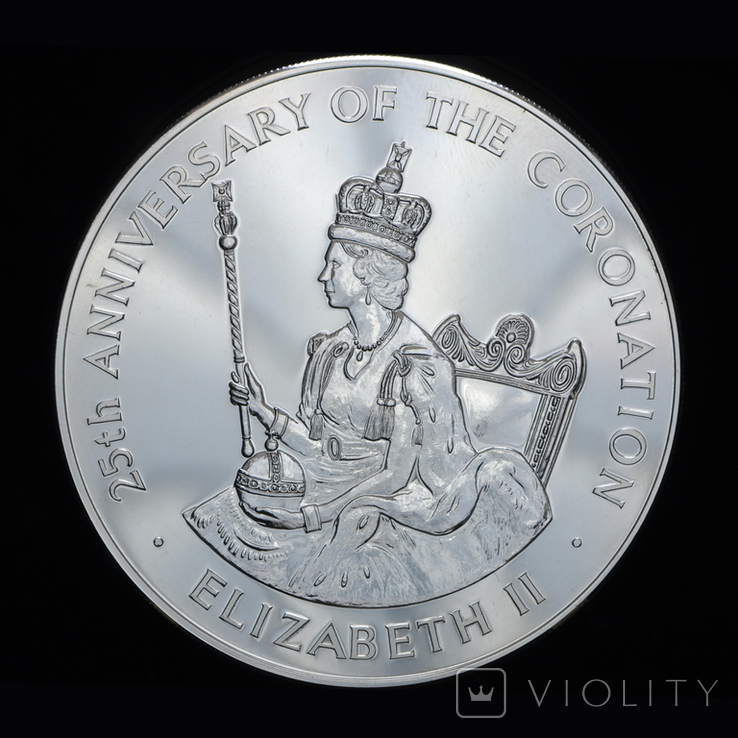 25 Долларов 1978 25 Лет Коронации Елизаветы ІІ (Серебро 0.925, 136.08г), Ямайка, фото №2