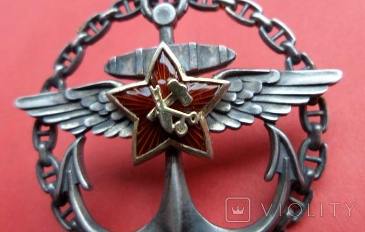 Нагрудный знак Морская авиация РККА серебро,горячая эмаль копия, фото №5