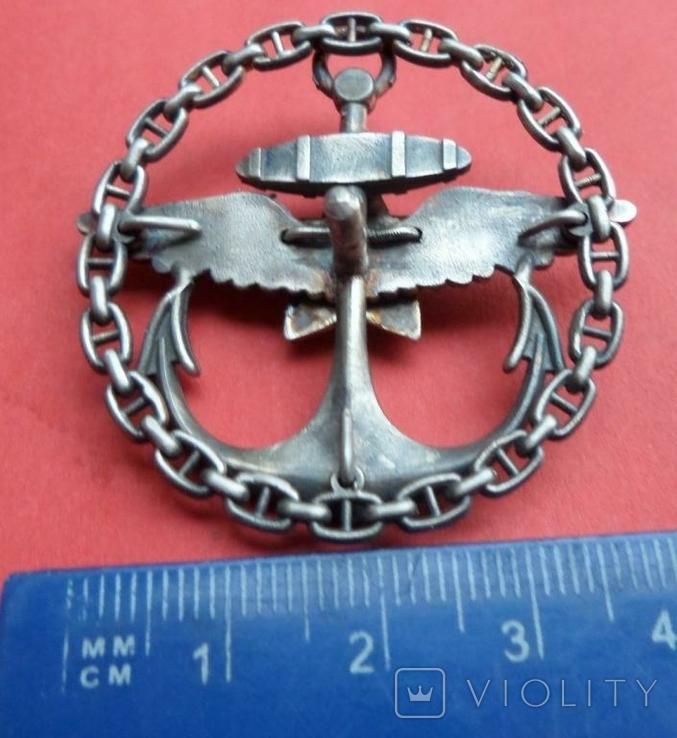 Нагрудный знак Морская авиация РККА серебро,горячая эмаль копия, фото №7