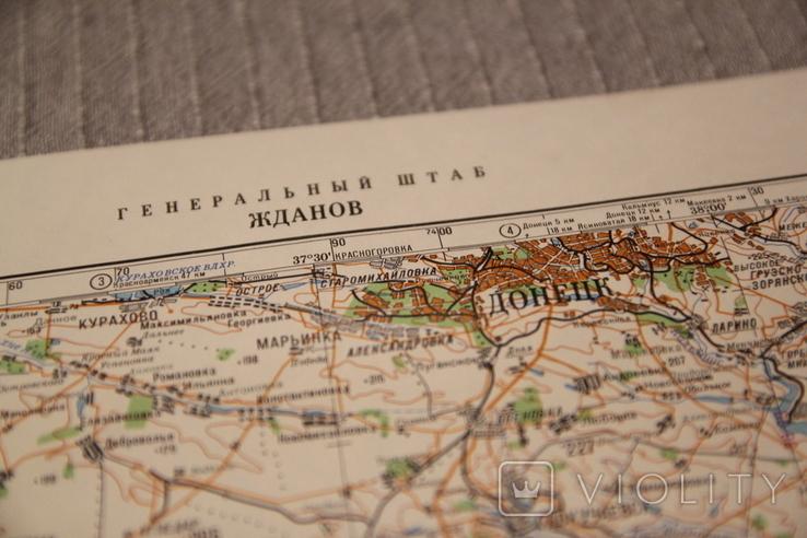 Карта генеральный штаб Мариуполь (Жданов) 1:500000 1986, фото №3