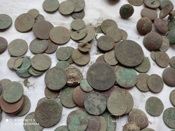 Лот убитих монет 100 штук+гудзики, фото №3
