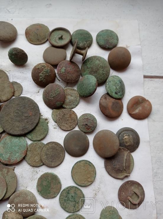 Лот убитих монет 100 штук+гудзики, фото №4