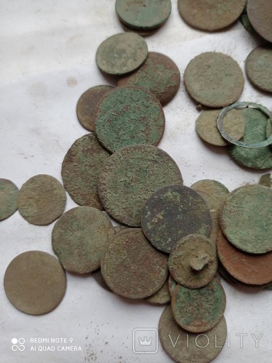 Лот убитих монет 100 штук+гудзики, фото №5