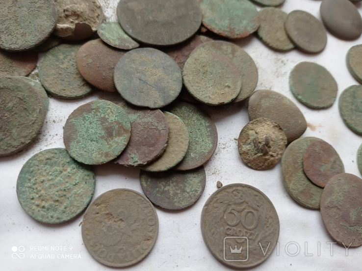 Лот убитих монет 100 штук+гудзики, фото №6