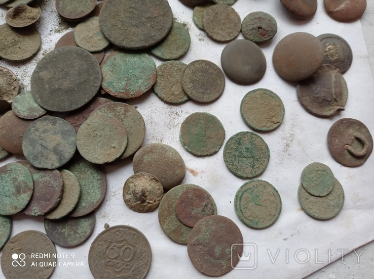 Лот убитих монет 100 штук+гудзики, фото №7