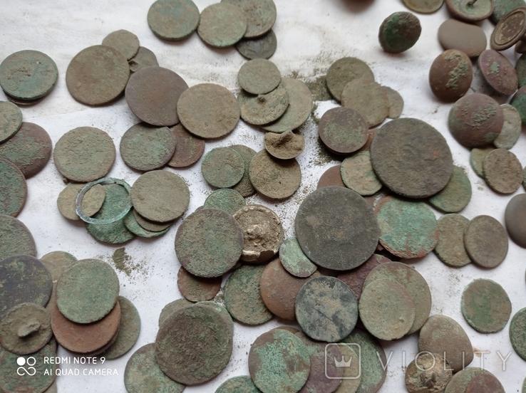 Лот убитих монет 100 штук+гудзики, фото №8