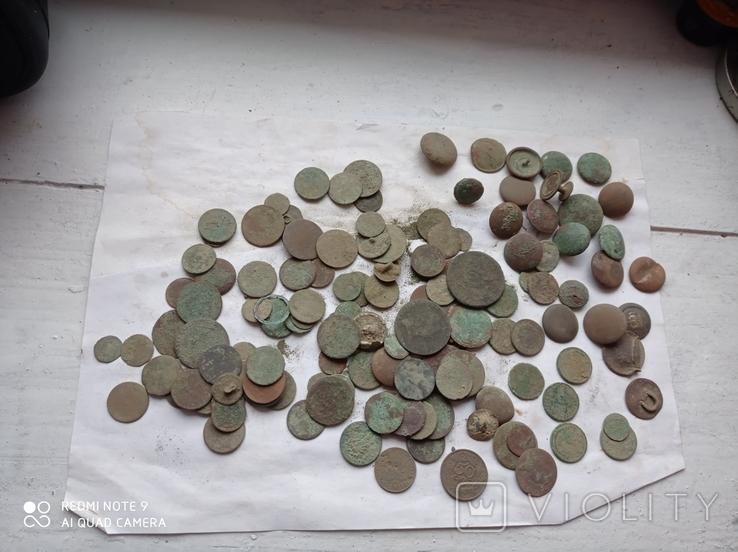 Лот убитих монет 100 штук+гудзики, фото №9