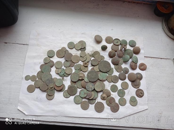Лот убитих монет 100 штук+гудзики, фото №11