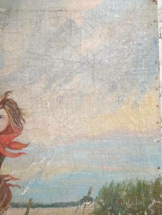 Дети бегущие от грозы. Полотно. Копия., фото №4