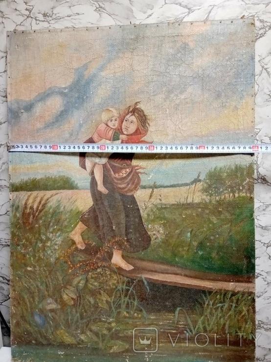 Дети бегущие от грозы. Полотно. Копия., фото №5