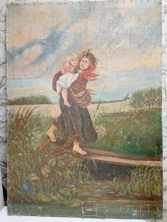 Дети бегущие от грозы. Полотно. Копия., фото №2