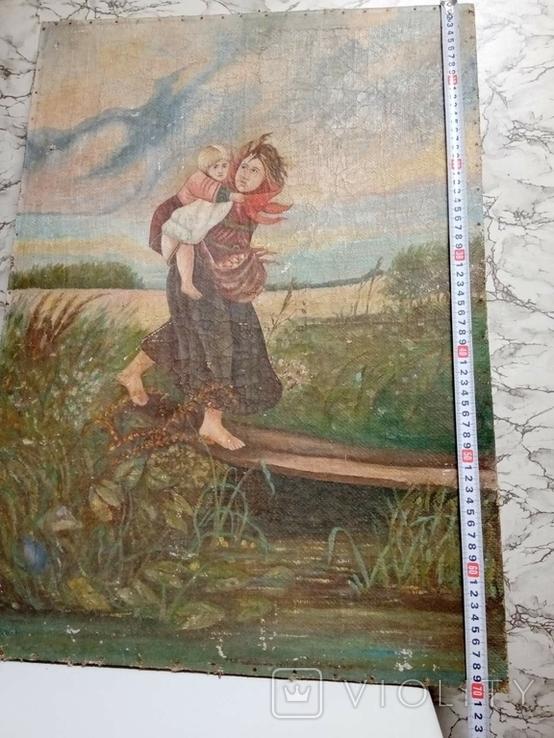 Дети бегущие от грозы. Полотно. Копия., фото №9