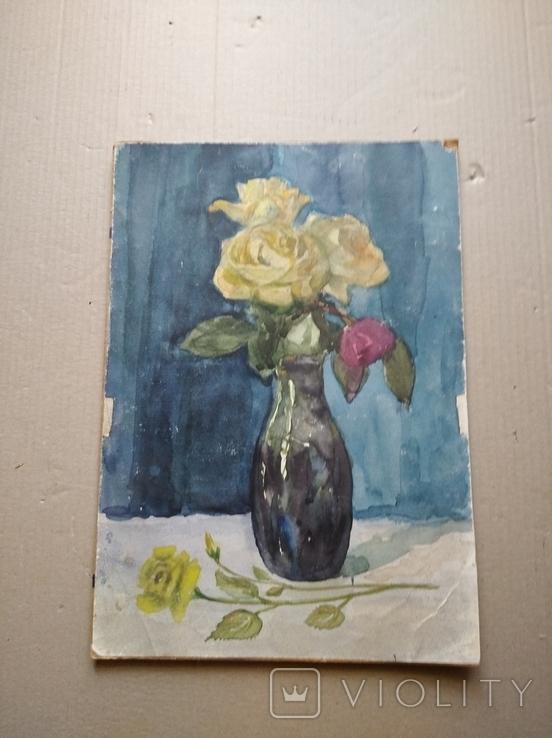 """Цветы"" б.акв., 40х28 см., худ.А. И. Вербицкая., фото №2"