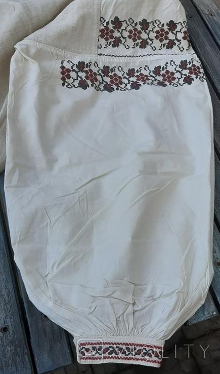 Сорочка из домотканого полотна,вышитая, фото №4