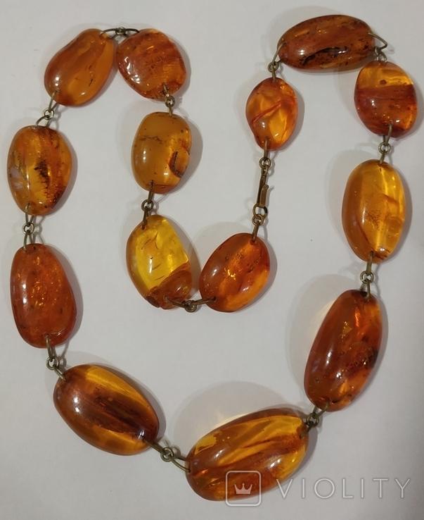 Бусы, ожерелье натуральный янтарь, фото №2
