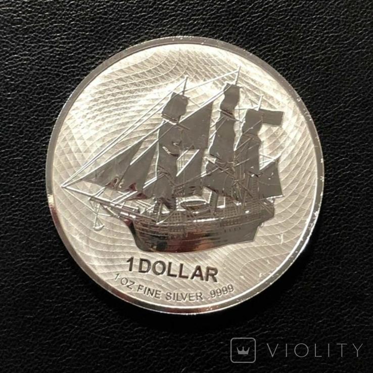 Острова Кука 2020 год 1$ унция серебра 9999` Корабль, фото №2