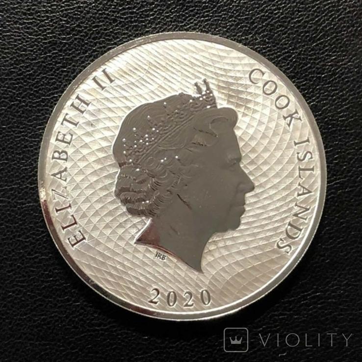 Острова Кука 2020 год 1$ унция серебра 9999` Корабль, фото №3