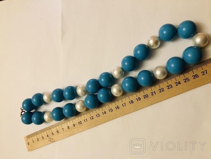 Бусы намисто ожерелье винтаж тяжелые застежка серебро 925, фото №5