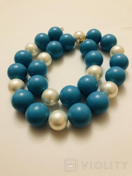 Бусы намисто ожерелье винтаж тяжелые застежка серебро 925, фото №8