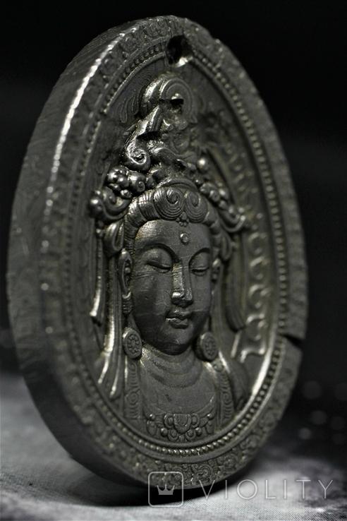 """Кулон """"Гуаньїнь"""" із залізного метеорита Aletai, 40,6 грам, із сертифікатом автентичності, фото №9"""